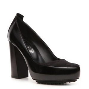 Tod's Black Suede and Leather Platform Pumps 39